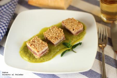 Tacos de atún con crema de guisantes a la menta, la receta ideal para reuniones y fiestas de amigos