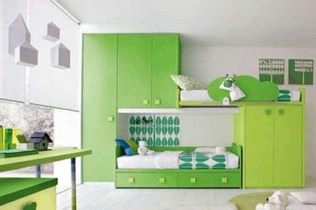 El color verde para los dormitorios infantiles