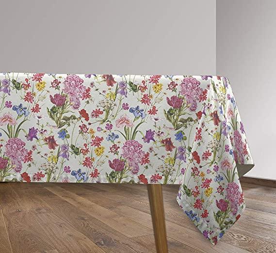 Vilber, Mantel de Tela confeccionado, rectangular, resinado, con Tratamiento Antimanchas, Impermeable, Estampado Flores. FLOWER-R01. Multicolor