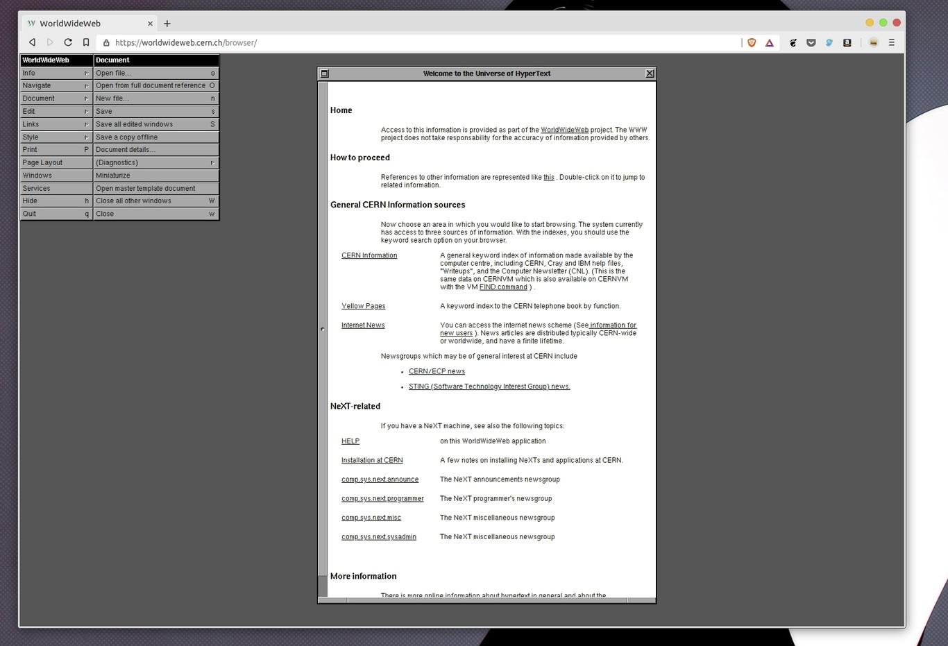 Navega por la web como hace 30 años con una edición especial de WorldWideWeb del CERN, el primer navegador web de la historia