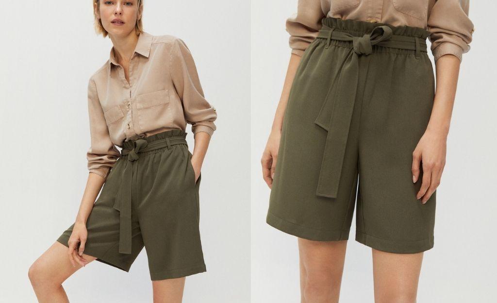 Pantalón corto en verde caza