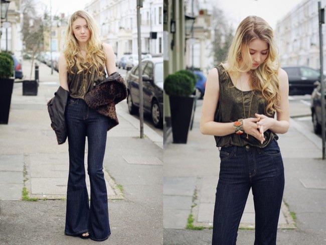 Look calle jeans Pantalón campana