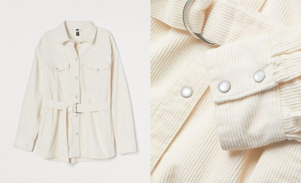 Chaqueta camisera en pana de algodón con hombros caídos, cuello y botones de presión delante y en los puños.