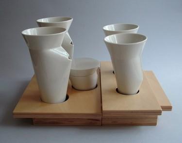 Set de café muy original, realizado artesanalmente