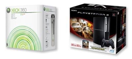 Cajas de Xbox 360 y PlayStation 3