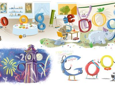 Todos los doodles de Google para celebra año nuevo, desde el 2000 hasta el 2017