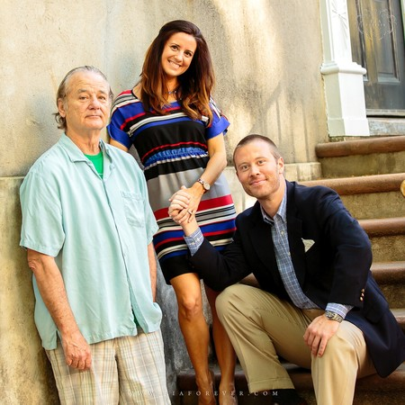 Bill Murray con dos fans recién casados