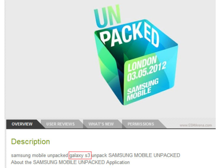 """La denominación """"Galaxy S3"""" aparece en la aplicación del Samsung Unpacked 2012"""