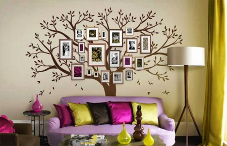 para hacer tu propio rbol genealgico de pared basta tener las fotografas de nuestros parientes unos marcos y un sticker mural en forma de rbol