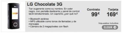 Yoigo incluye el LG Chocolate 3G en su catálogo de móviles