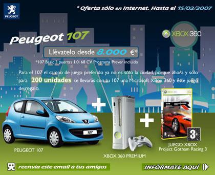 Compra un Peugeot 107 y llévate una Xbox 360
