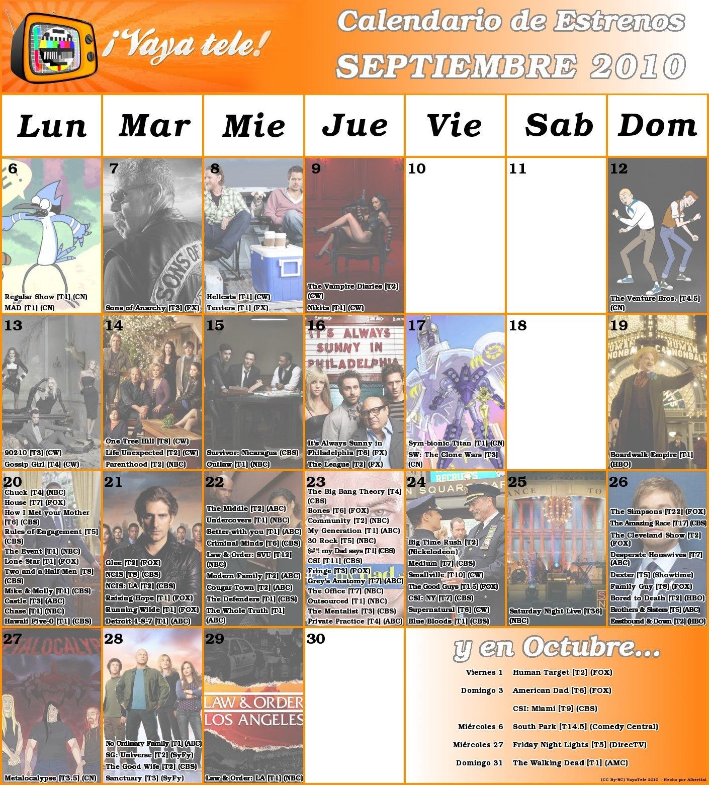 Foto de Calendario Series Otoño 2010 (1/2)