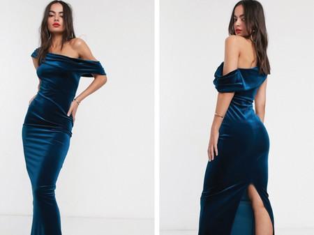 Vestido Largo De Terciopelo Con Escote Bardot De Asos Design