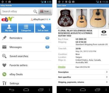 eBay actualiza su aplicación para Android