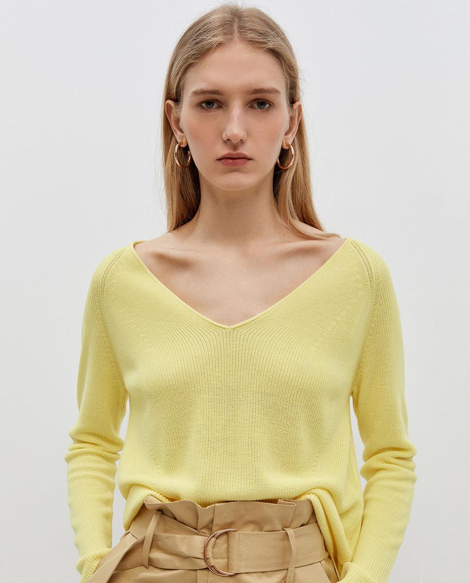 Jersey de mujer liso cuello caja
