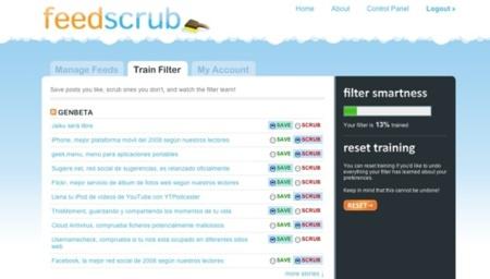 FeedScrub, filtrado de contenidos en canales RSS según entrenamiento previo