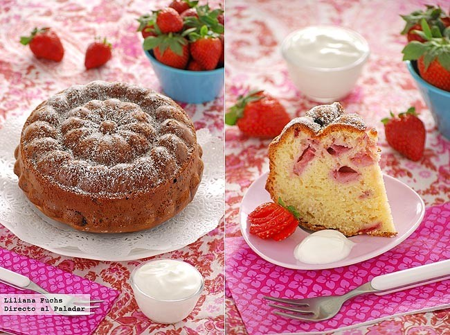 Pastel ligero de fresas y yogur griego