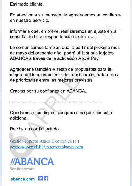 Abanca Apple Pay