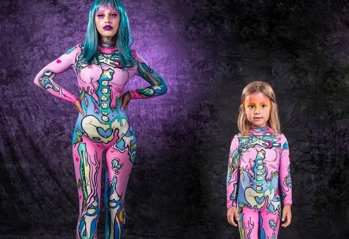 Disfraz de Cosplay de Halloween para mujer, niña, Kawaii, Skeleon Onesies con estampado de mamá y yo, mono de fiesta de Anime, traje Zombie rosa