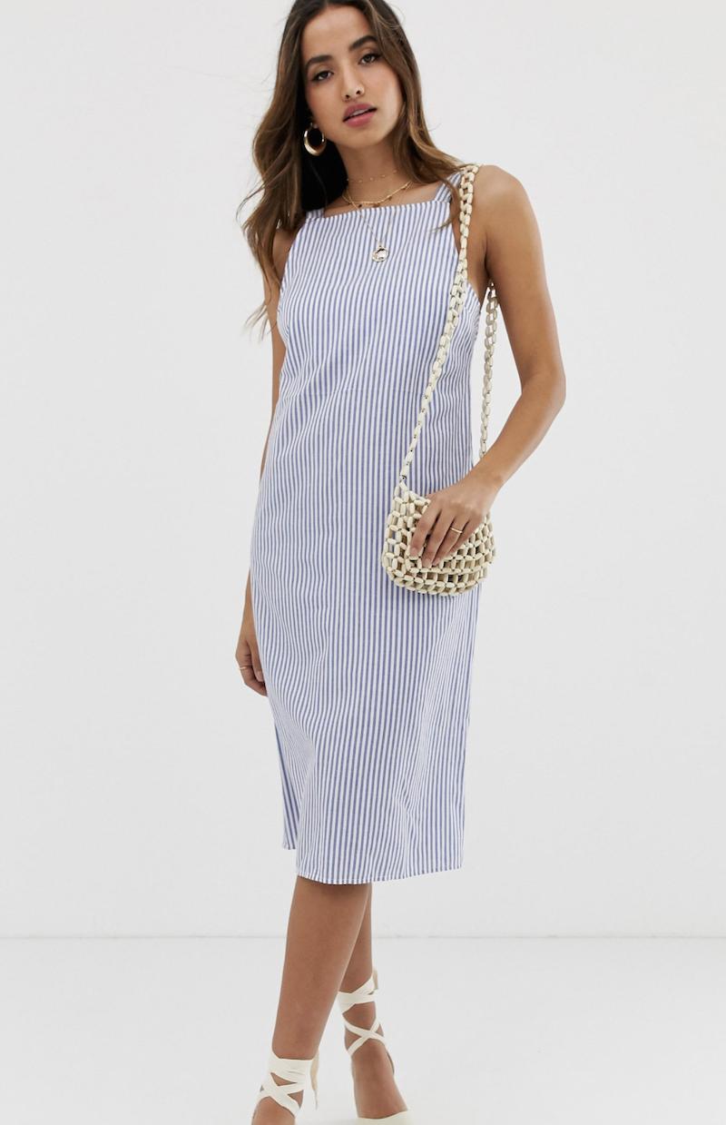 Vestido de verano midi con hebilla en la parte posterior y diseño a rayas de ASOS DESIGN