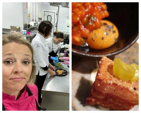 La Chef Teresa Gutierrez De Azafran Y Parte De Su Equipo Torrezno Yema Cruda De Huevo Con Un Poco De Trufa Y Pisto