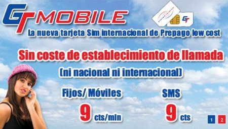 GT Mobile: 9 céntimos/minuto sin establecimiento de llamada