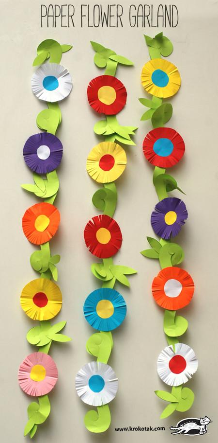 Manualidades Primavera Guirnalda Flores
