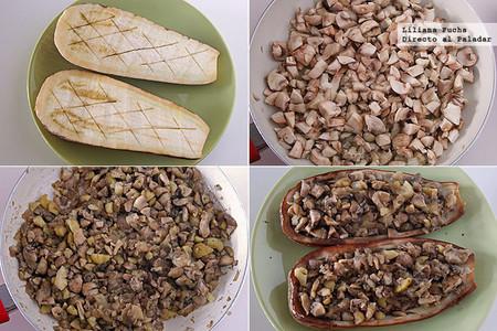 Berenjenas rellenas de champiñones y castañas al microondas. Pasos de la receta
