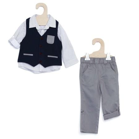 Conjunto De Camisa Y Chaleco Gris Raton Infantil Nino Gh755 1 Zc1