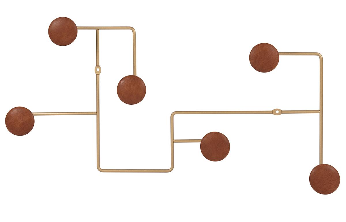 Perchero con 6 ganchos color marrón y dorado