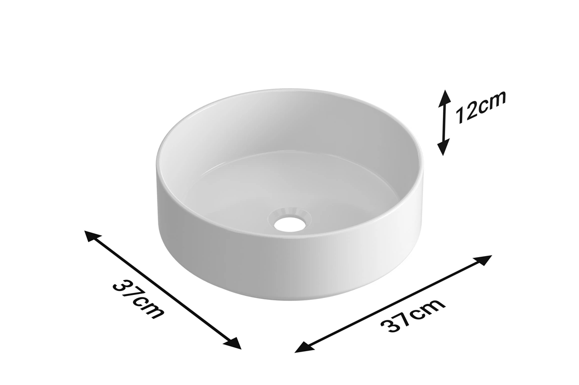 Lavabo Studio blanco brillo de 37 cms de diámetro y 12 cm de alto