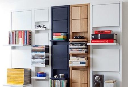 Estanterías con estantes plegables para espacios pequeños