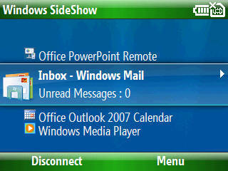 Windows SideShow para Windows Mobile