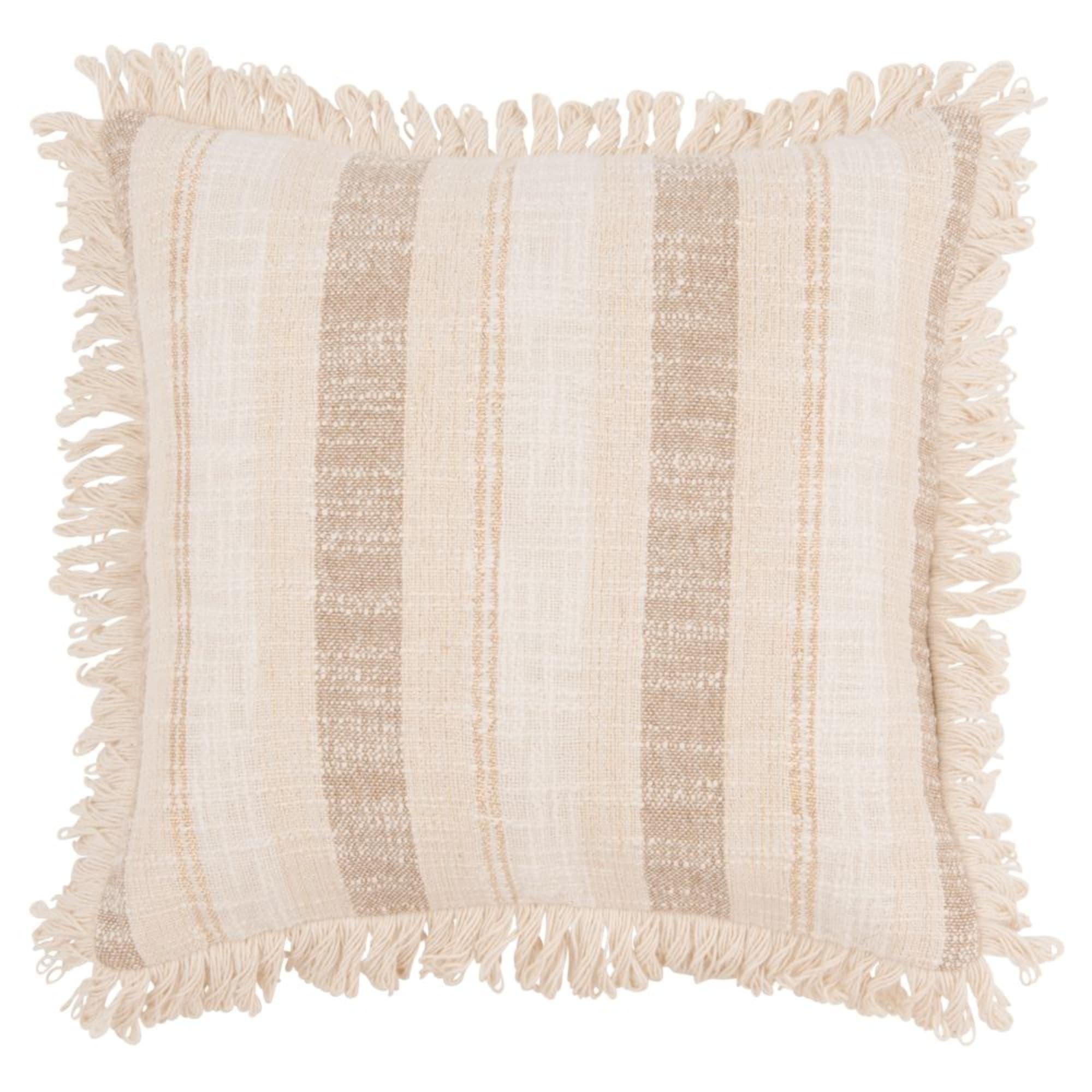 Funda de cojín de algodón de color crudo y marrón 40x40