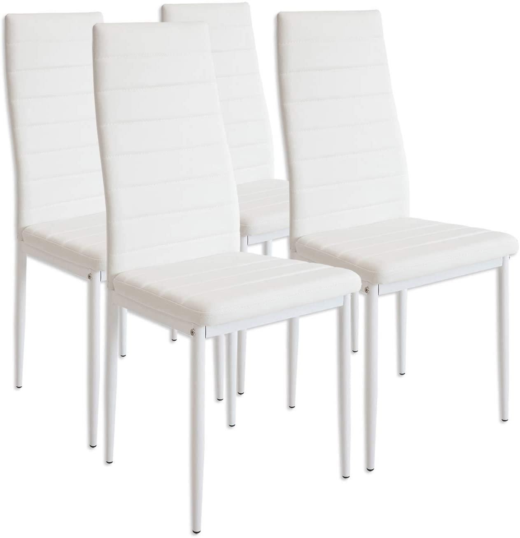 Albatros 2552 MILANO Set de 4 sillas de comedor, blanco
