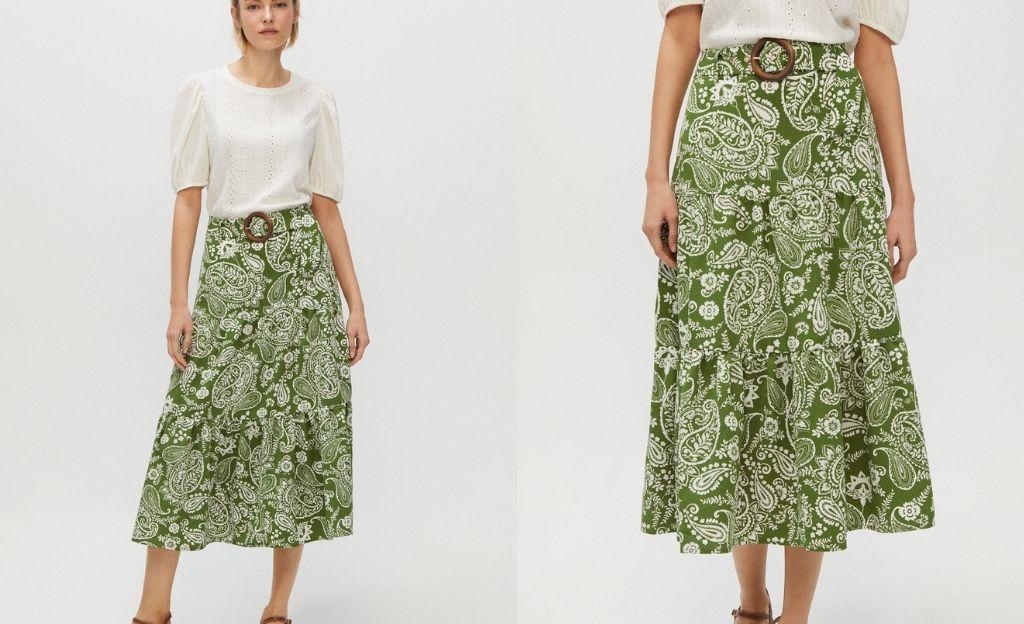 Falda midi de estampado paisley