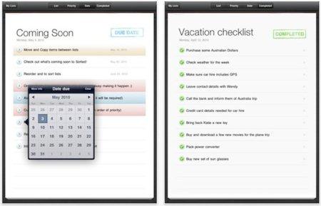 Sorted para el iPad, crea listas de tareas de forma cómoda