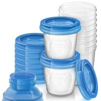Set de 10 recipientes Philips Avent antiderrame de leche materna por 12,95 euros en Amazon