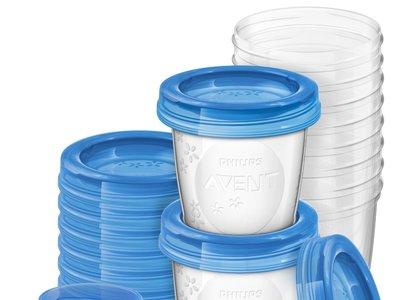 Set de 10 recipientes Philips Avent antiderrame de leche materna por 12,95 euros en Amazon