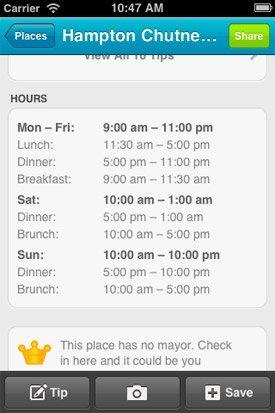 Foursquare añade la posibilidad de incluir los horarios de apertura y cierre