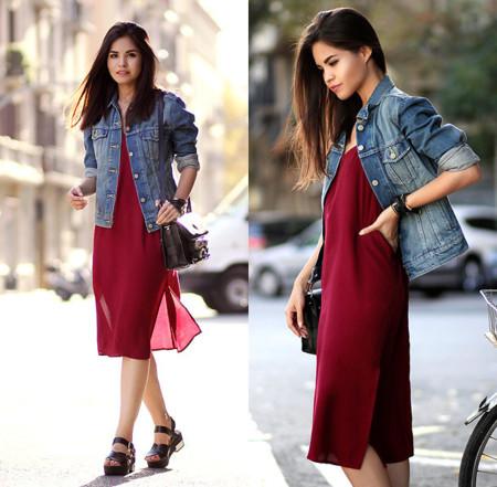 Vestido Burdeos Street Style