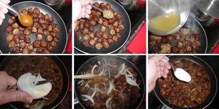 Preparación de los albóndigas a la mostaza con espaguetis