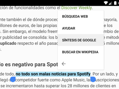 Síntesis de voz de Google 3.9 se integra en el selector de texto de Marshmallow