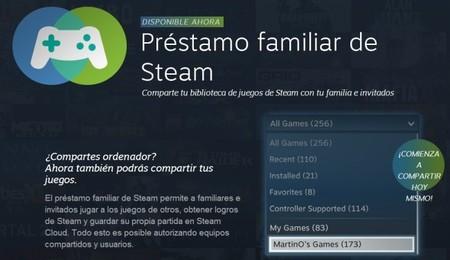 Ya puedes compartir tus juegos de Steam gracias al préstamo familiar