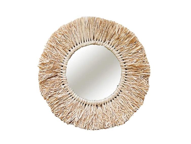 Mojawo Espejo de pared redondo Hawaii decorativo espejo colgante decorativo espejo redondo de rafia Ø55 cm