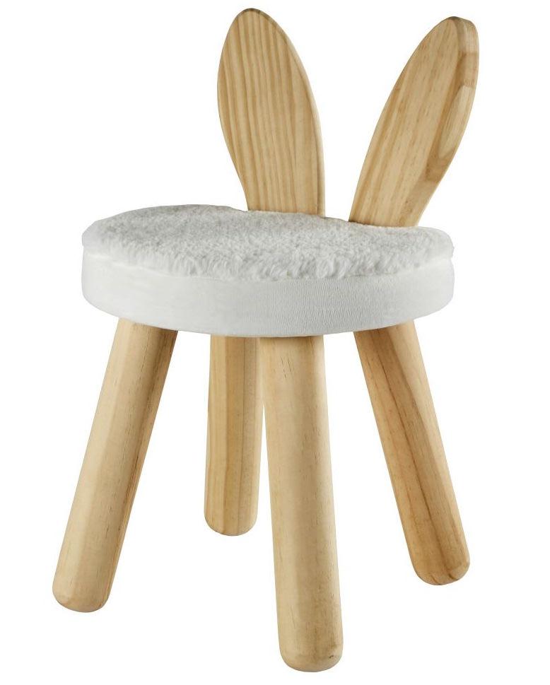 Taburete infantil conejito de pino blanco