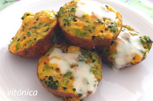 Muffins multicolor de vegetales: receta saludable