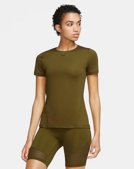 Camiseta de entrenamiento de manga corta con tejido de malla - Mujer Nike Pro