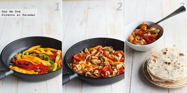 Fajitas de pollo con verduras. Receta mexicana paso a paso