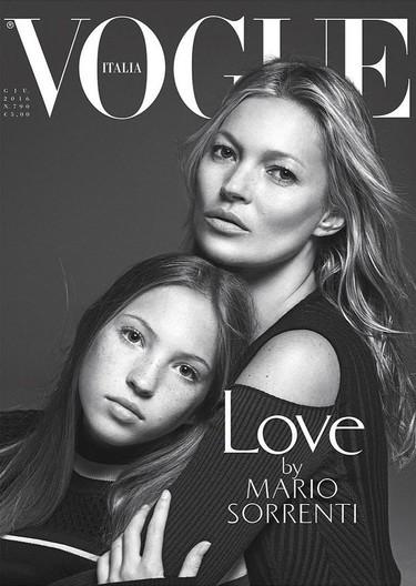 Madre e hija: Kate Moss posa con su hija Lila Grace para la nueva portada de Vogue Italia